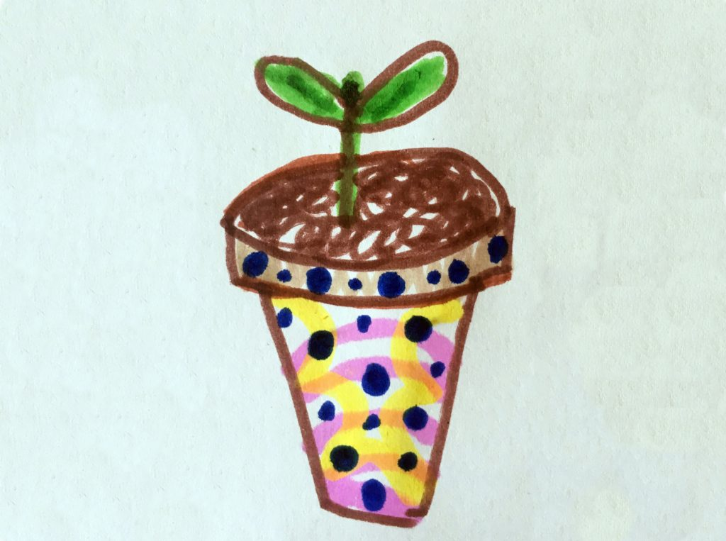 Drawing of a tiny seedling growing in a colourful painted pot.